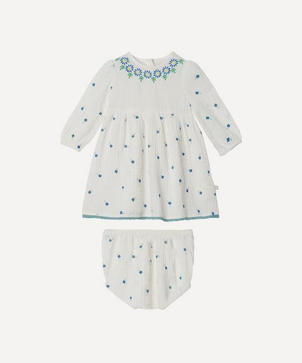 Stella McCartney Kids - Floral Embroidered Gauze Dress 3 Months-3 Years
