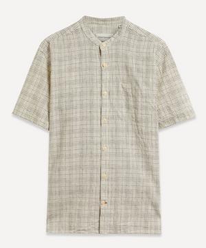 Grandad Collar Grid Check Shirt