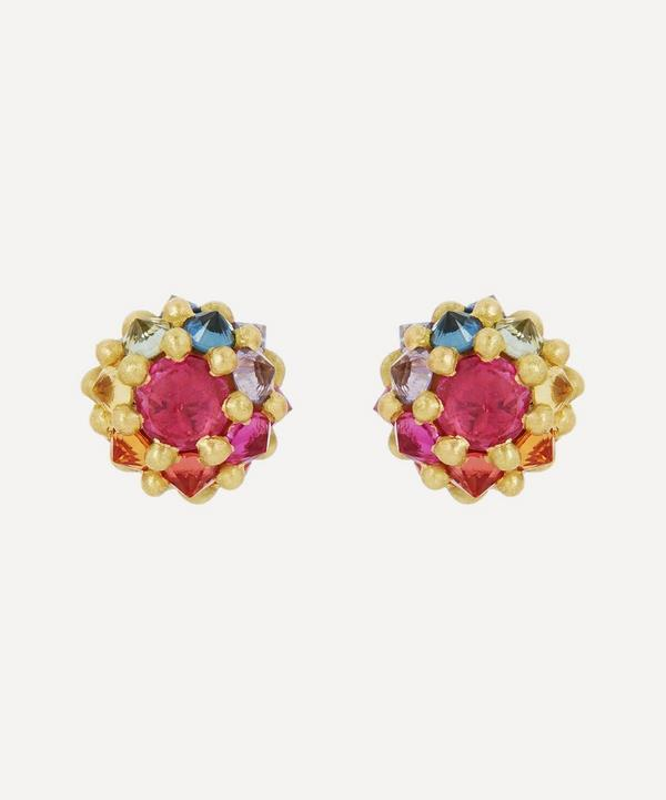 Polly Wales - 18ct Gold Sputnik Small Rainbow Sapphire Stud Earrings