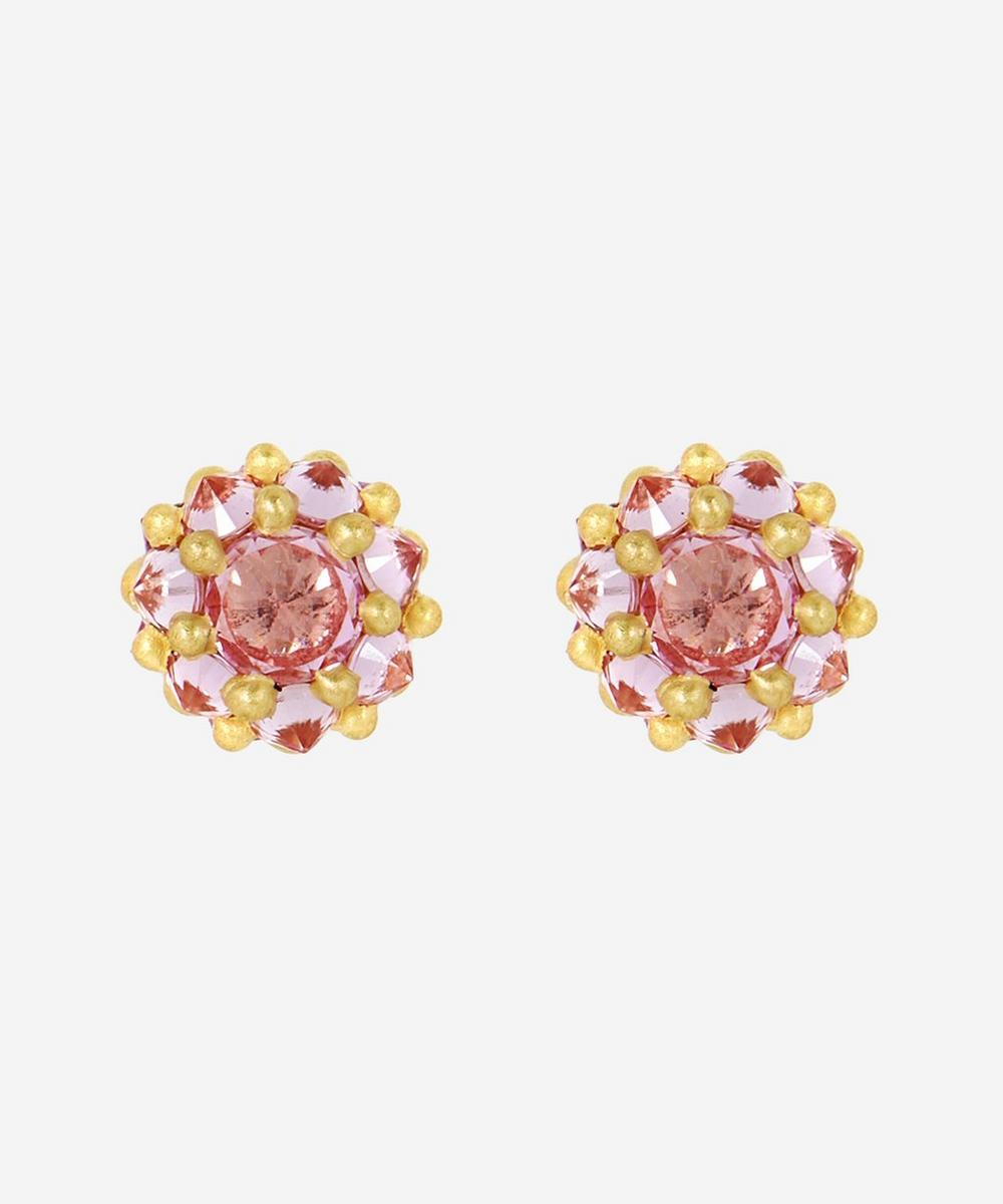 Polly Wales - 18ct Gold Sputnik Small Pink Sapphire Stud Earrings