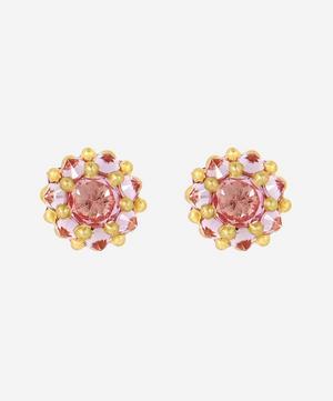 18ct Gold Sputnik Small Pink Sapphire Stud Earrings