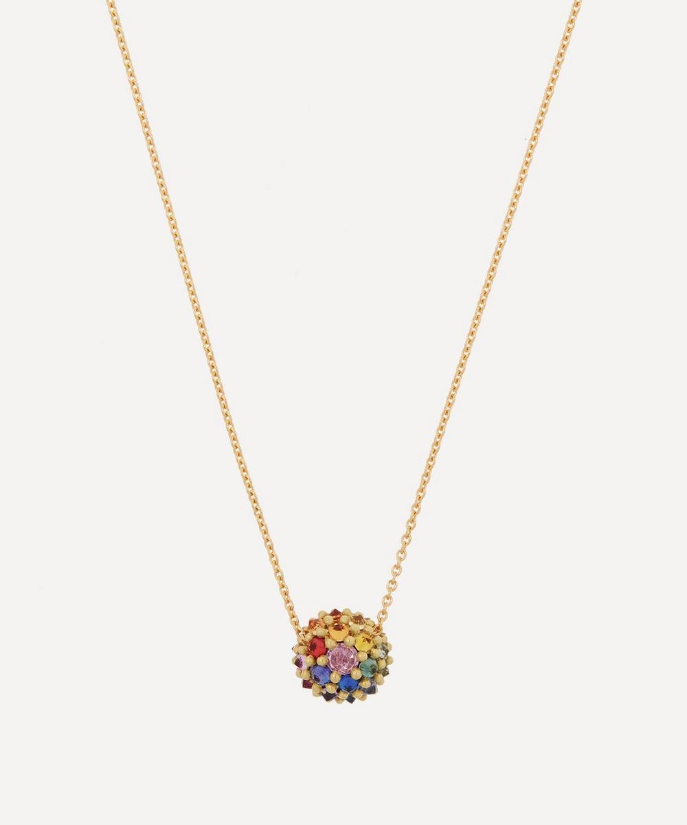 Polly Wales - 18ct Gold Sputnik Medium Rainbow Sapphire Pendant Necklace