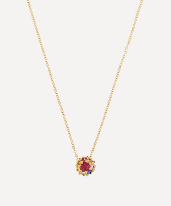 Polly Wales - 18ct Gold Sputnik Small Rainbow Sapphire Pendant Necklace
