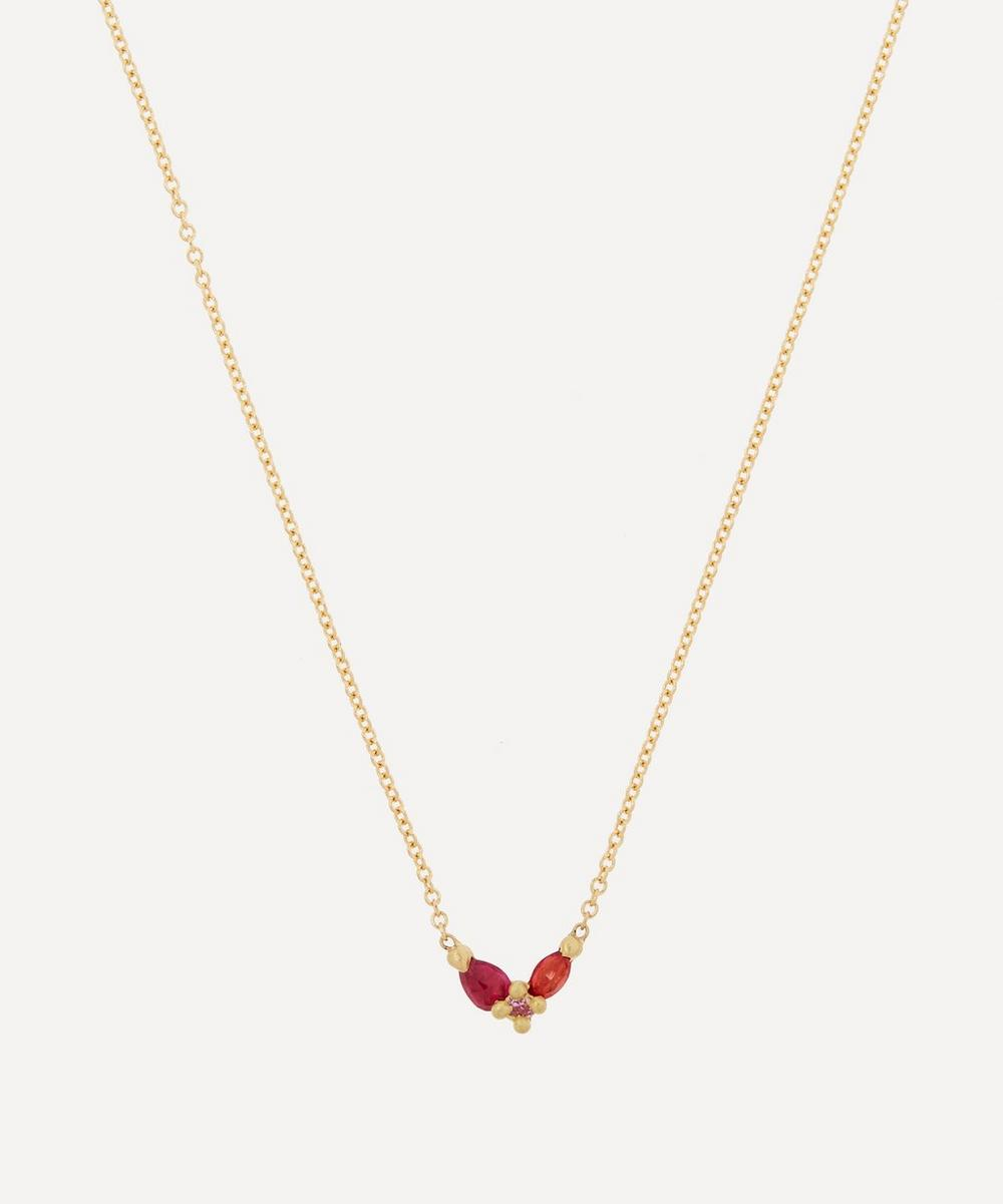 Polly Wales - 18ct Gold Floret Pink and Red Sapphire Pendant Necklace