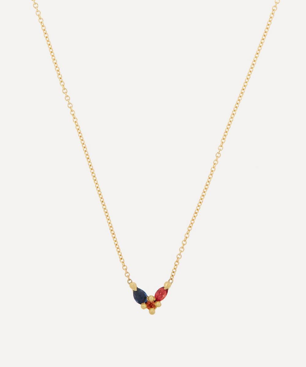 Polly Wales - 18ct Gold Floret Rainbow Sapphire Pendant Necklace