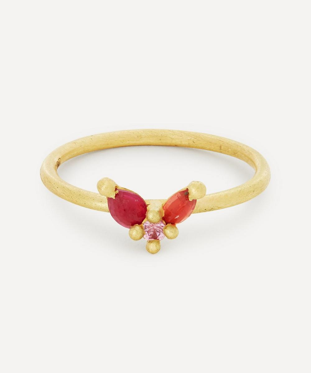 Polly Wales - 18ct Gold Floret Pink and Red Sapphire Ring