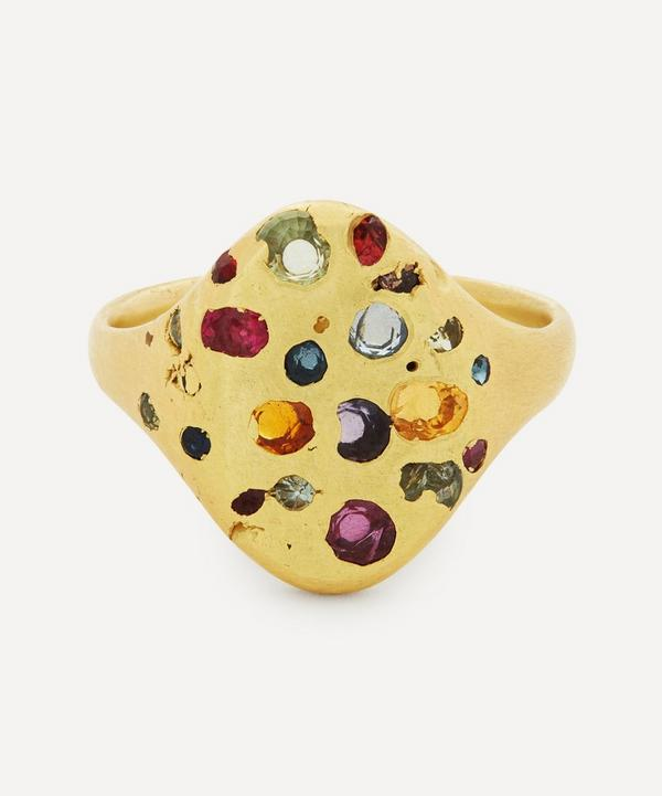 Polly Wales - 18ct Gold Rainbow Sapphire Signet Ring