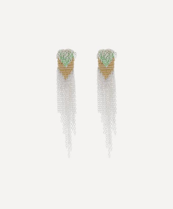 Stephanie Schneider - Silver Wide Woven Chain Drop Earrings
