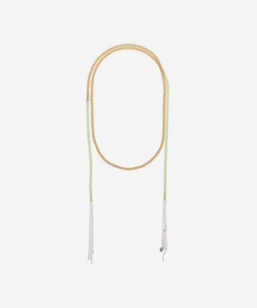 Stephanie Schneider - Silver and Gold-Plated Long Woven Chain Shawl Necklace