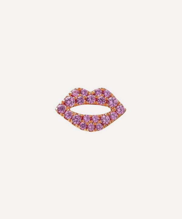 Roxanne First - 14ct Rose Gold The Scarlett Kiss Pink Sapphire Single Stud Earring