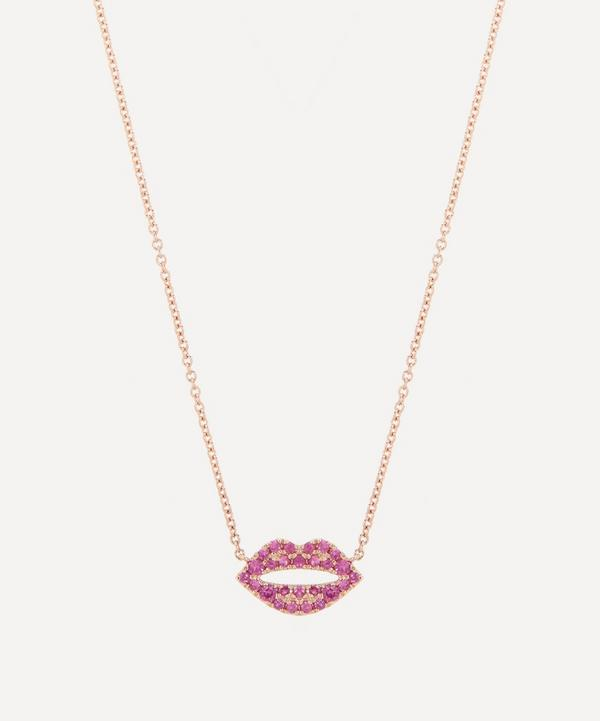 Roxanne First - 14ct Rose Gold Scarlett Kiss Pink Sapphire Pendant Necklace