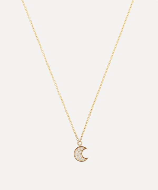 Roxanne First - 14ct Gold Micro Diamond Moon Pendant Necklace