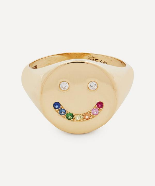 Roxanne First - 14ct Gold Diamond and Rainbow Sapphire Smiley Signet Ring