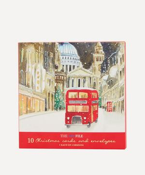 London Red Buses Duo Design Christmas Cards Box of 10