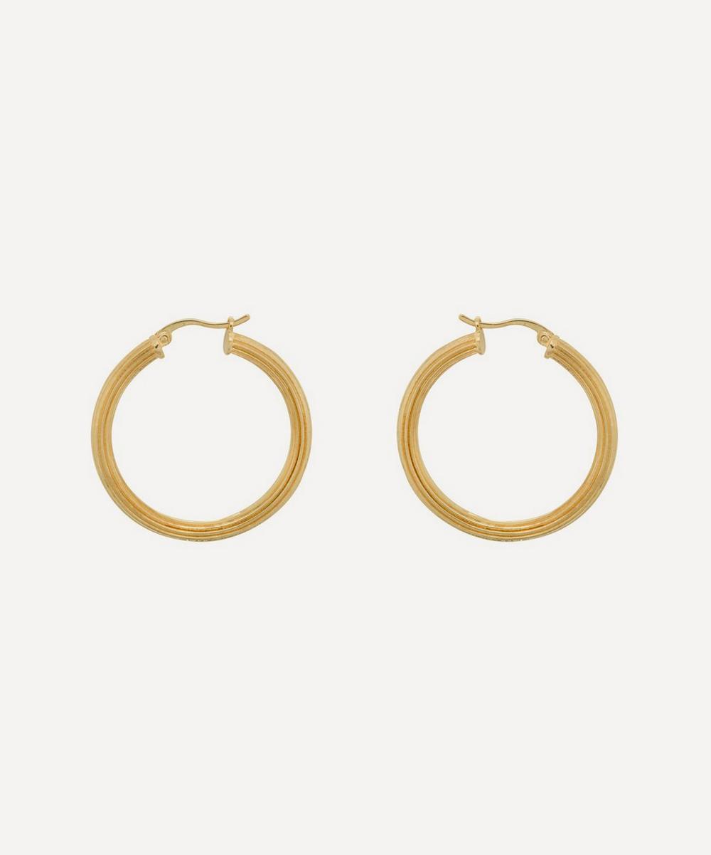 Anna + Nina - Gold-Plated Pyramid Hoop Earrings