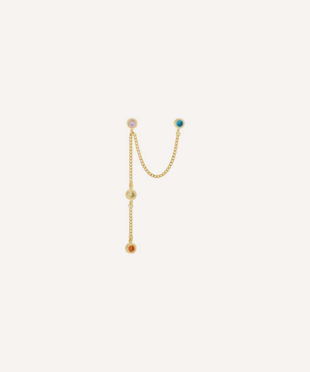 Anna + Nina - Gold-Plated Duo Confetti Zirconia Single Chain Drop Earring
