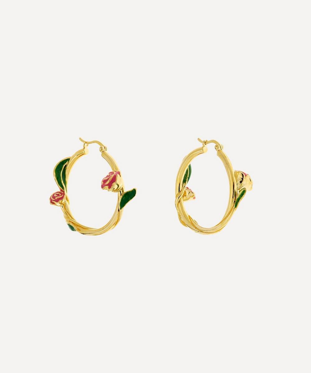 Anna + Nina - Gold-Plated Tangled Rose Enamel Hoop Earrings