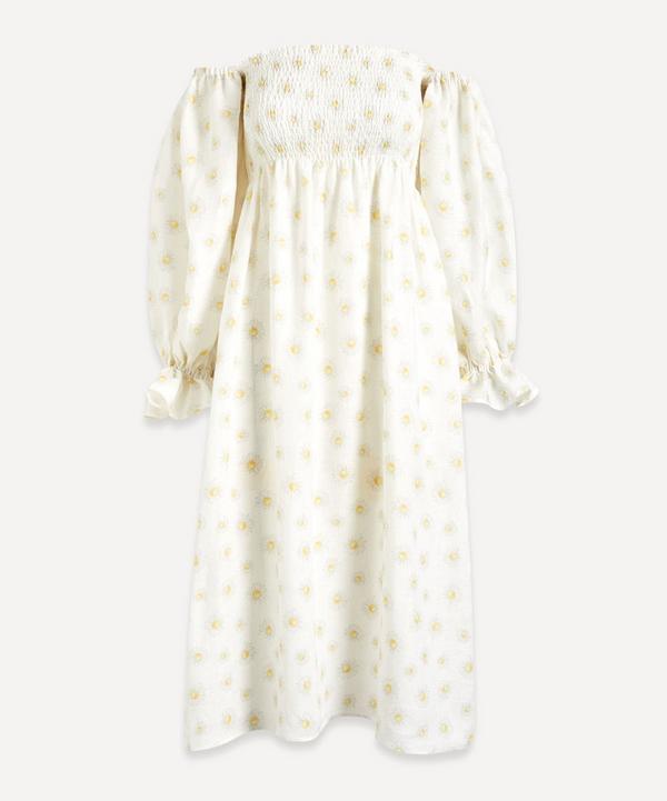 Sleeper - Atlanta Puff-Sleeve Linen Midi-Dress