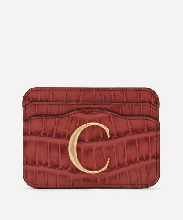 Chloé - Chloé C Croc-Embossed Leather Card Holder