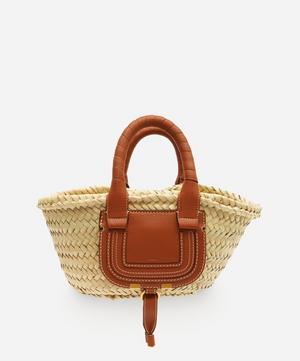 Marcie Mini Raffia and Leather Basket Bag