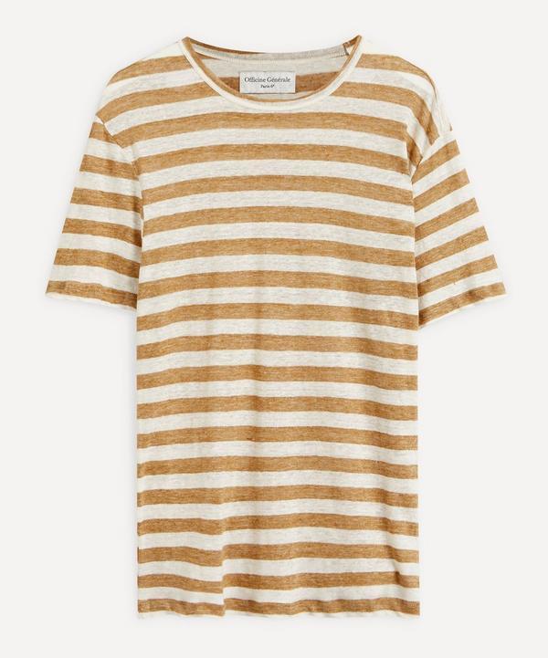 Officine Générale - Big Stripe French Linen T-Shirt