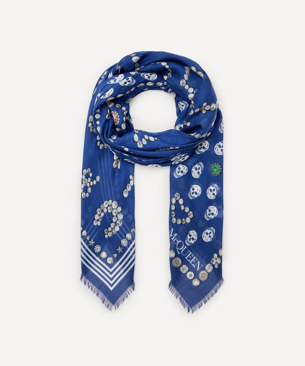 Alexander McQueen - Jewelled Button and Skull Modal Scarf