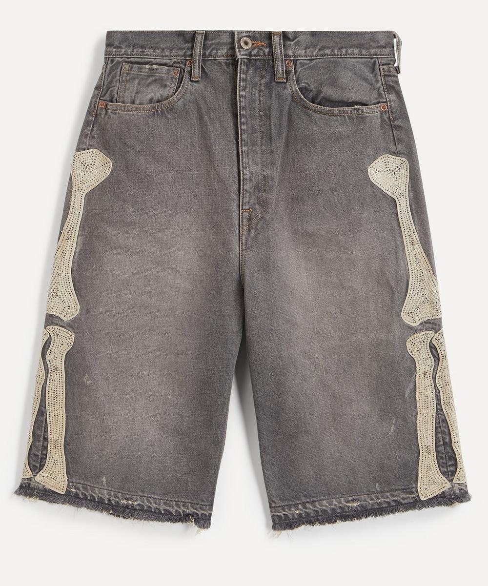 Kapital - Kountry Embroidered Bone Denim Shorts