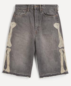 Kountry Embroidered Bone Denim Shorts