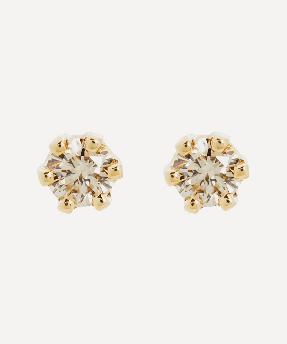 Satomi Kawakita - 14ct Gold Baby Brown Diamond Stud Earrings