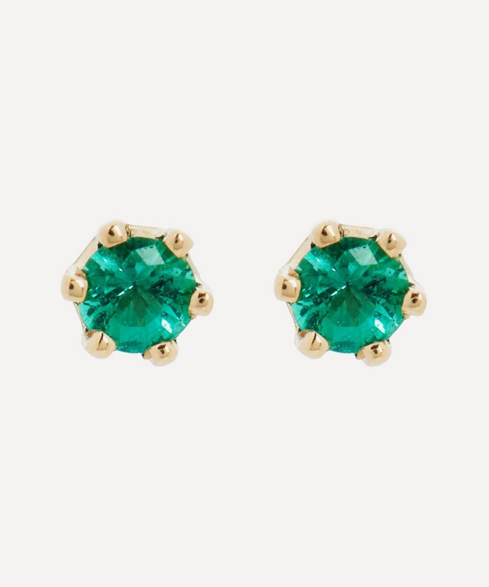 Satomi Kawakita - 14ct Gold Baby Emerald Stud Earrings