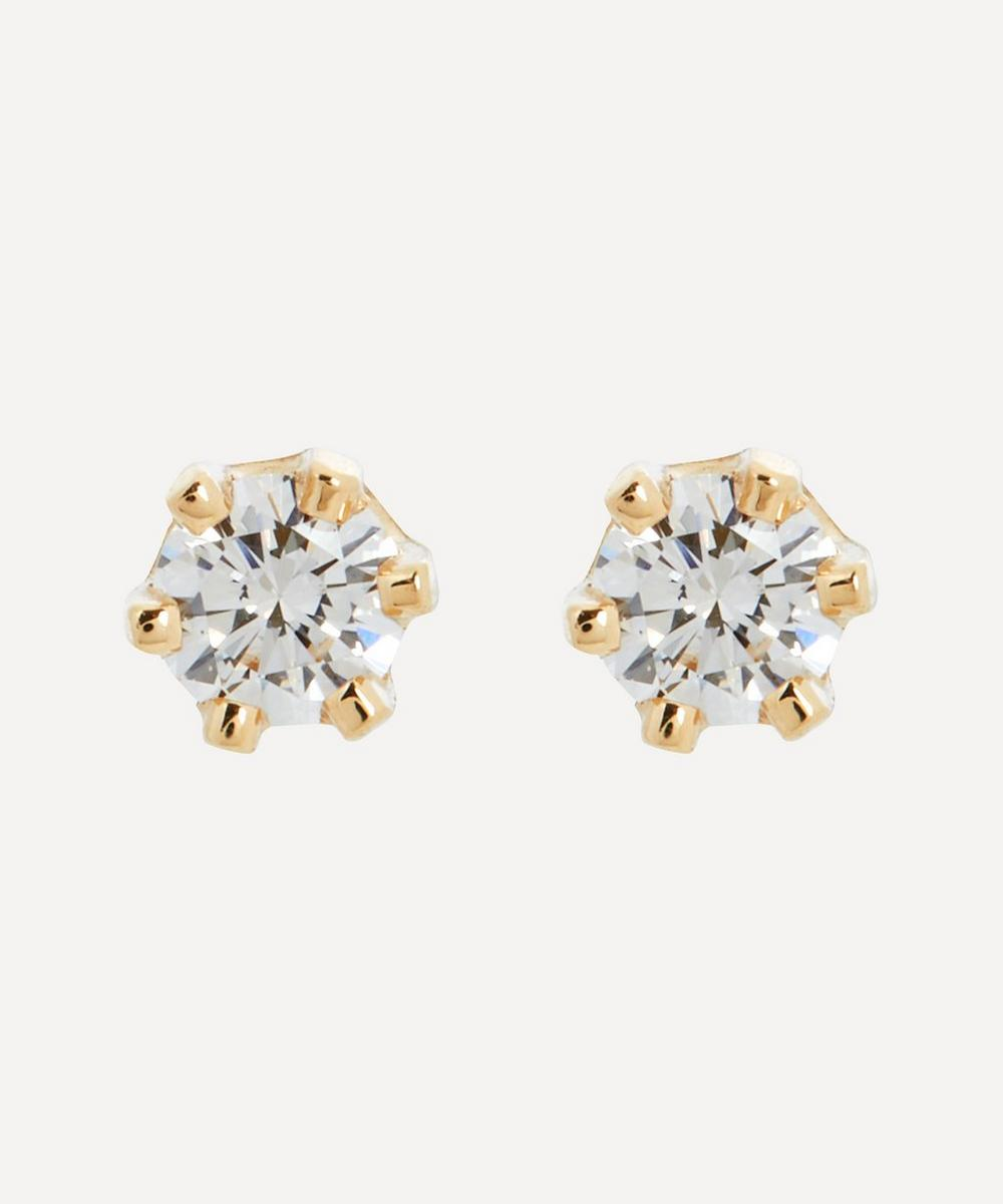 Satomi Kawakita - 14ct Gold Baby White Diamond Stud Earrings