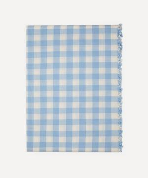 Baby Blue Gingham Cotton Tablecloth