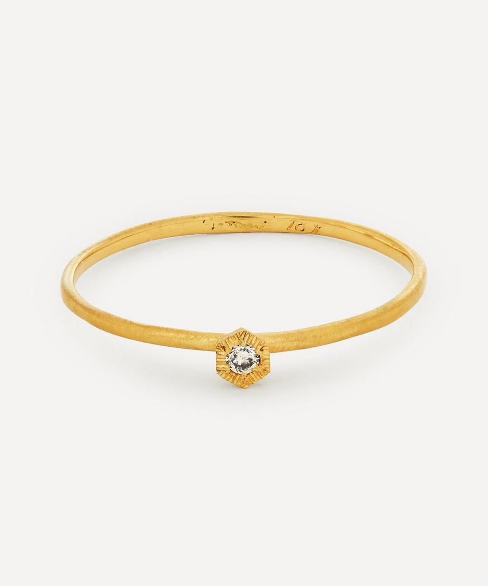 Satomi Kawakita - 18ct Gold Baby Brown Diamond Hexagon Ring
