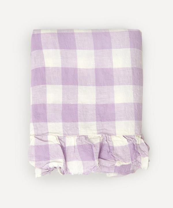 Society of Wanderers - Lilac Gingham Ruffle Double Flat Sheet