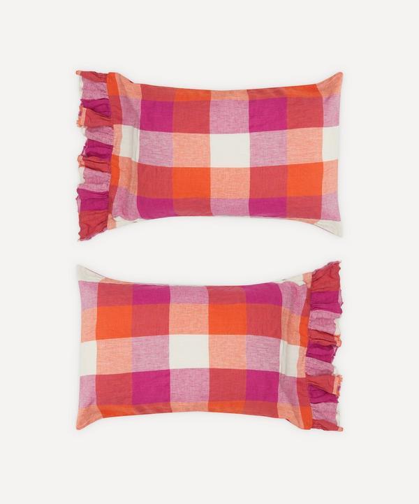 Society of Wanderers - Sherbet Check Ruffle Pillowcase Set
