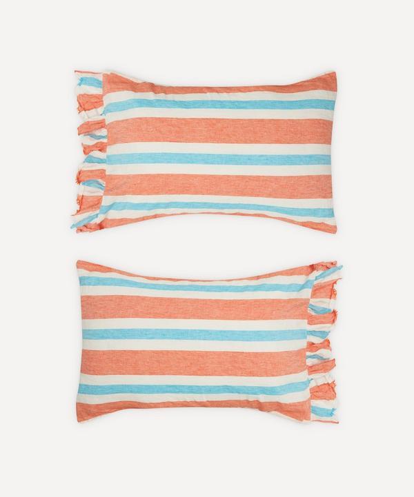 Society of Wanderers - Candy Stripe Ruffle Pillowcase Set