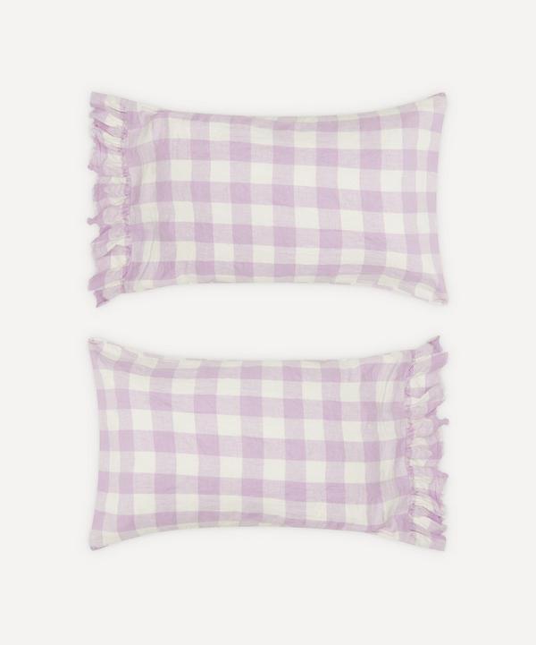 Society of Wanderers - Lilac Gingham Ruffle Pillowcase Set