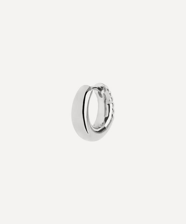 Maria Black - White Rhodium-Plated Laid Back 8 Single Huggie Hoop Earring