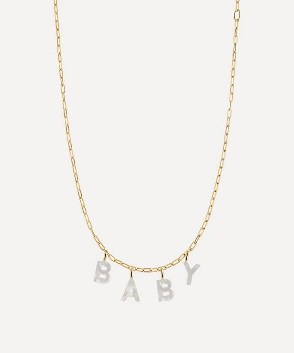 Maria Black - Gold-Plated Baby Mother of Pearl Letter Charm Necklace