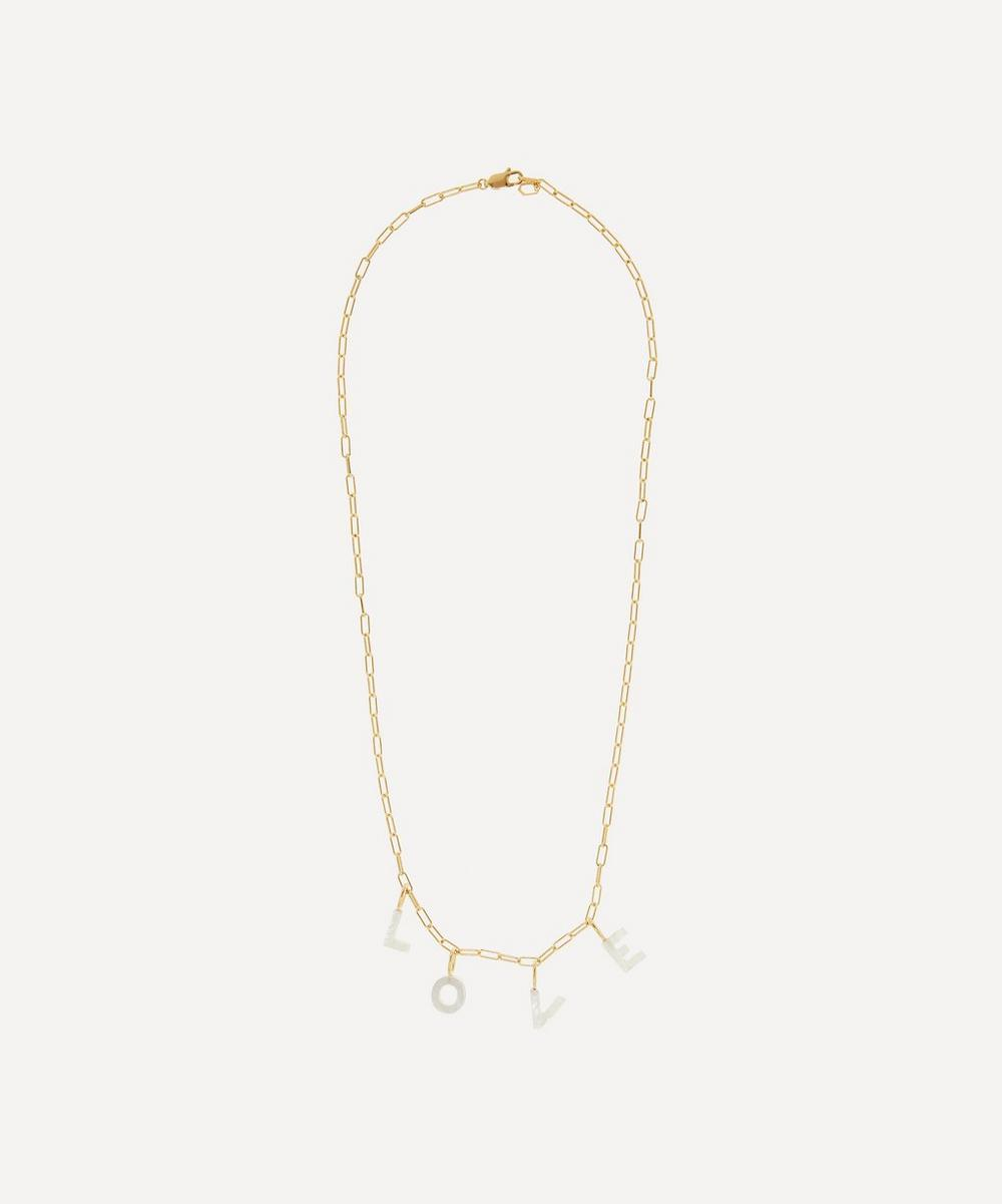Maria Black - Gold-Plated Love Mother of Pearl Letter Charm Necklace