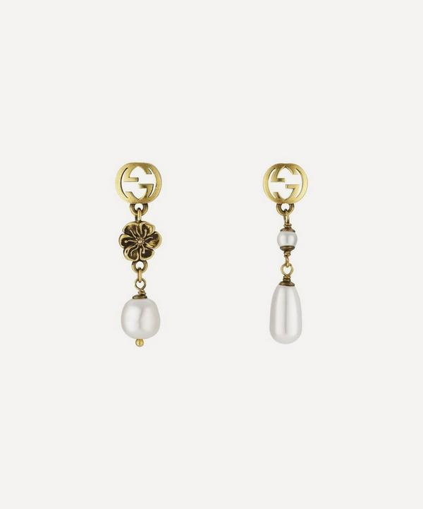 Gucci - Gold-Tone Interlocking G Flower and Faux Pearl Drop Earrings