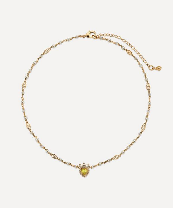 Gucci - Gold-Tone Crystal Heart and Faux Pearl Necklace