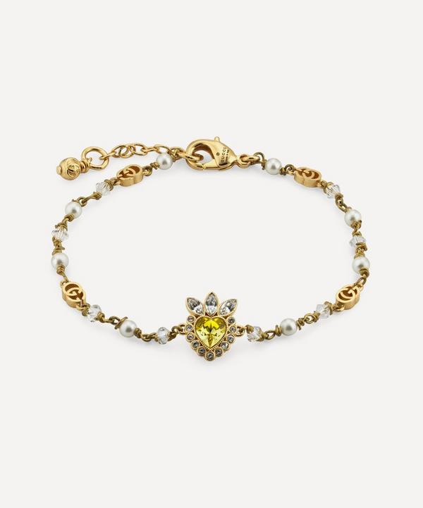 Gucci - Gold-Tone Crystal Heart and Faux Pearl Bracelet