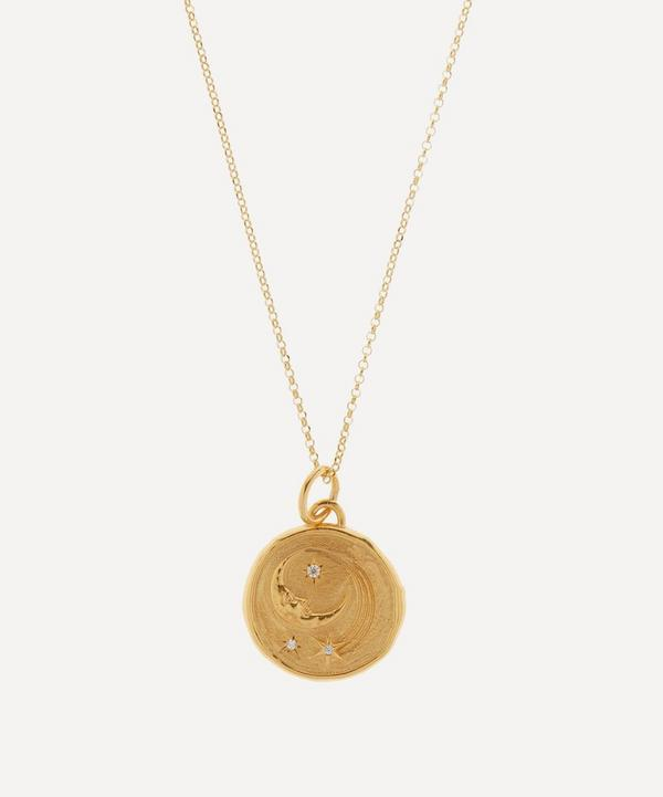Hermina Athens - Gold-Plated Luna Thin Chain Clear Zirconia Medium Pendant Necklace