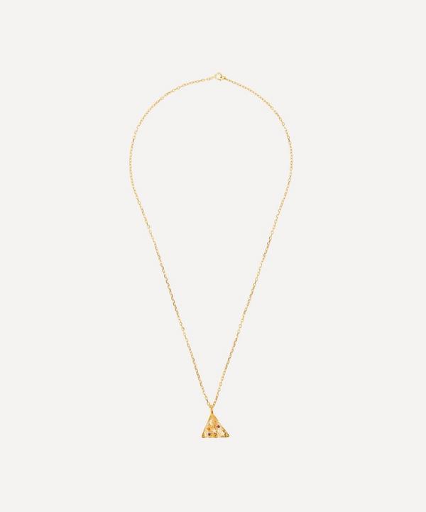 Hermina Athens - Gold-Plated Méliès Multi Zirconia Small Pyramis Pendant Necklace