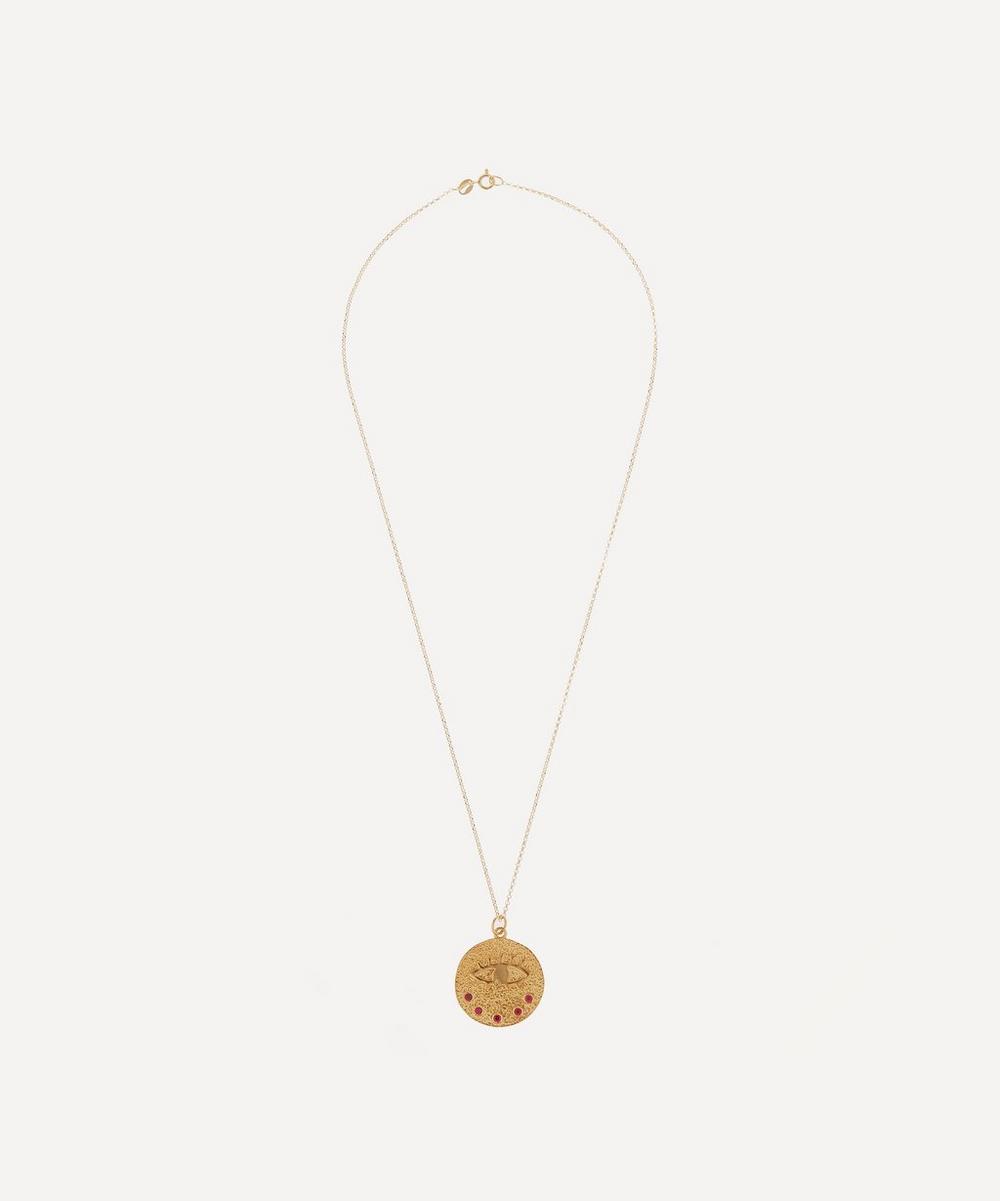 Hermina Athens - Gold-Plated Kressida Red Zirconia Large Medallion Pendant Necklace