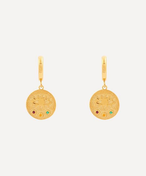 Hermina Athens - Gold-Plated Kressida Multi Zirconia Mini Huggie Hoop Earrings