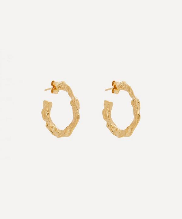 Hermina Athens - Gold-Plated Full Moon Hoop Earrings