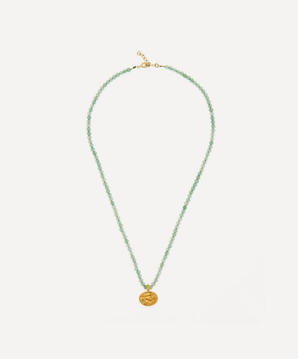 Hermina Athens - Gold-Plated Sealstone Animal Aventurine Beaded Pendant Necklace