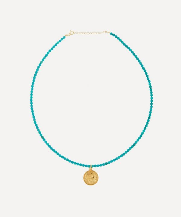 Hermina Athens - Gold-Plated Athéna Turquoise Howlite Beaded Pendant Necklace